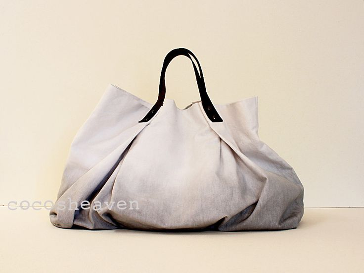 CANVAS WEEKENDER BAG...Gray (with dark brown leather strap)....one size. $119.00, via Etsy.