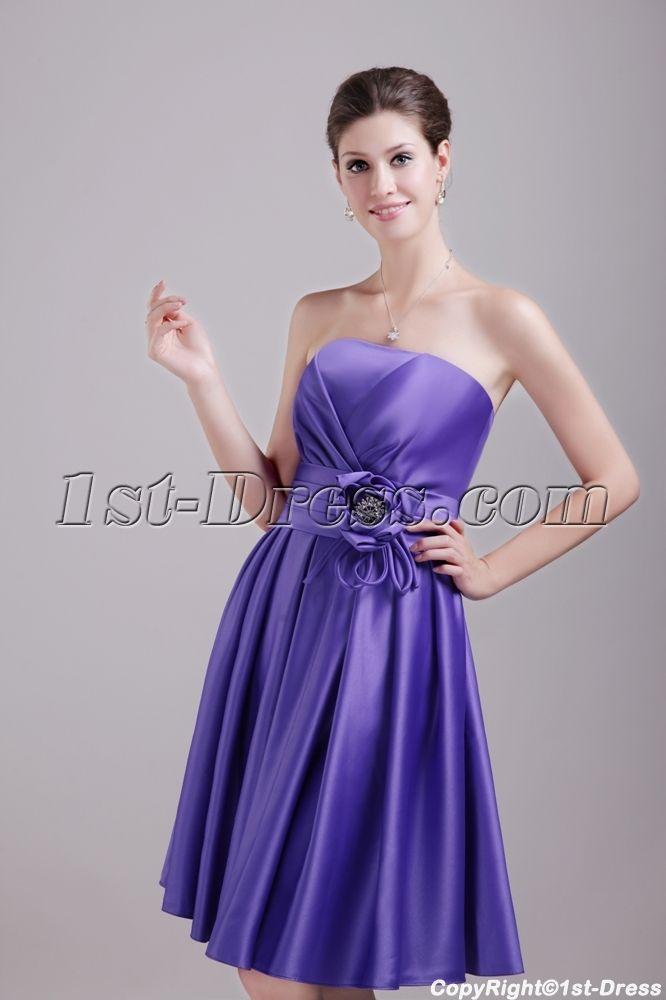 Purple Knee Length Bridesmaid Dress Cheap 1371 $125.00