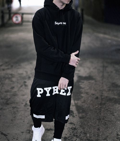Street Style. Fashion. Men. Clothing. Attitude. Black & White. Typography. Brand. Supreme. PYREX. Youth. Slim. New. Modern. Urban.