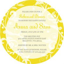 Bright Yellow And White Rehearsal Dinner Invitation