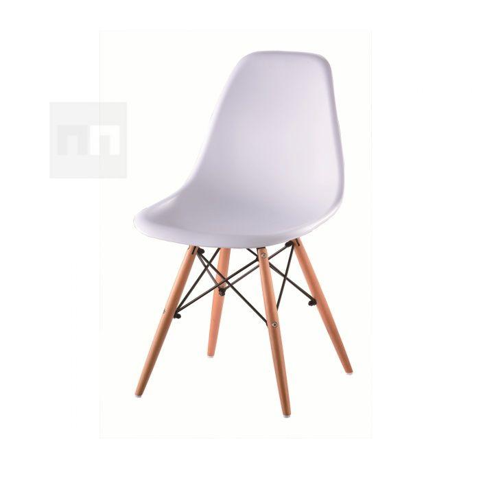 Designová trendy židle v kombinaci dřeva a plastu bílé barvy TK078