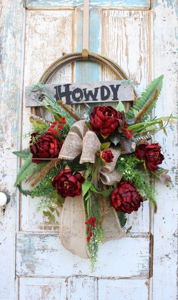 Howdy Western Rope Wreath with Burgundy Red Flowers / Rustic Lariat Wreath / Cowboy / Country/ Farmhouse / Western Home Decor / Ranch House