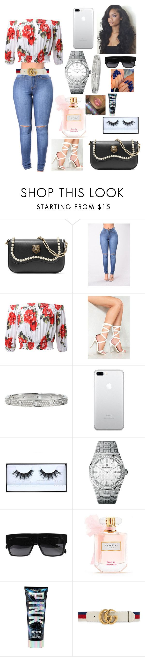 """Shopping Time!!!"" by auntiefaye ❤ liked on Polyvore featuring Gucci, Nasty Gal, Cartier, Huda Beauty, Audemars Piguet and Victoria's Secret"