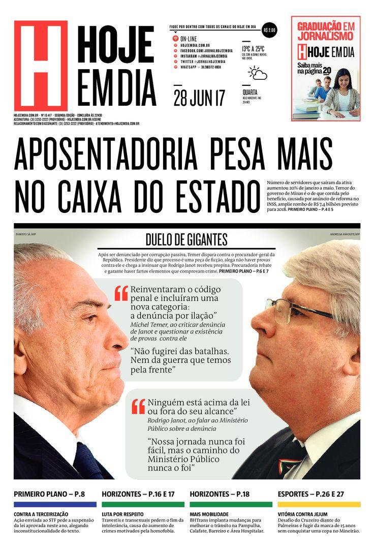 Capa do dia 28/06/2017 #HojeEmDia #Jornal #Noticias #News #Newspaper
