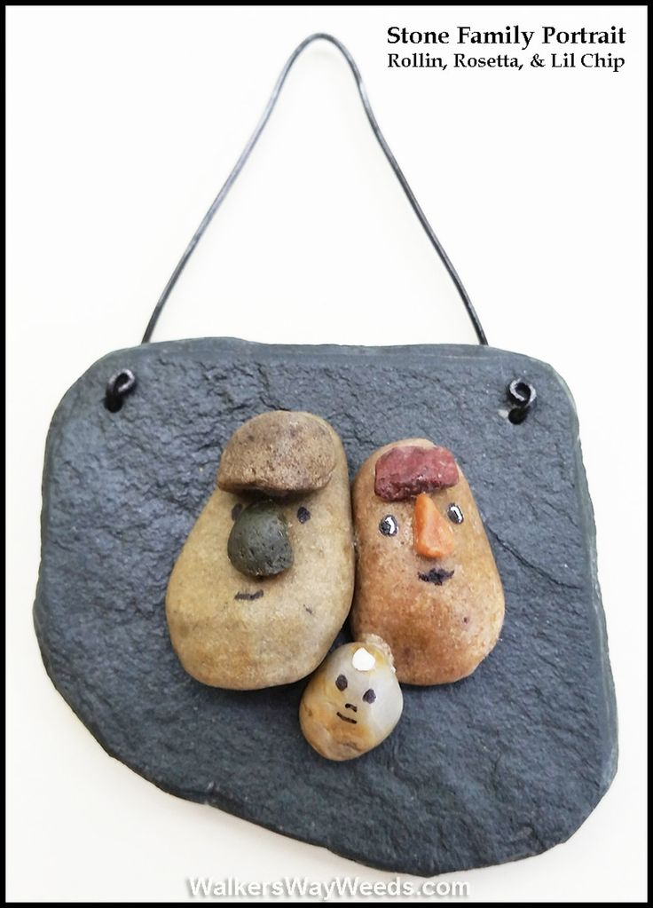 Miniature Pebble Art Stone Family Portrait Dollhouse Decor Handmade Recycled Materials by WalkersWayWeeds on Etsy