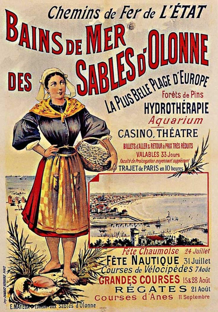Région : Pays de la Loire Département : Vendée 1893 Eugène Ogé Les-Sables-d'Olonne, affiche lith. en couleurs, 121x79 cm, non signée