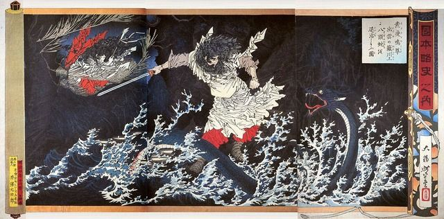 Susanoo (god of the sea and storms)& Yamata no Orochi (8-branched giant snake)