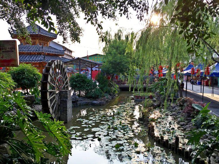 Green scenery and water wheel  Jiangnan Water Street, Nanning, Guangxi