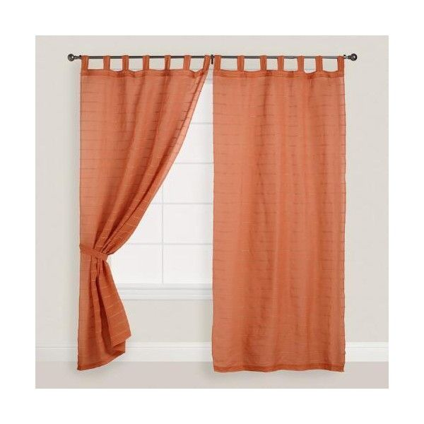 ($40) ❤ Liked On Polyvore Featuring Home, Home Decor, Window Treatments,  Curtains, Orange, Tab Top Curtains, Woven Curtains, Orange Home Decor, ...