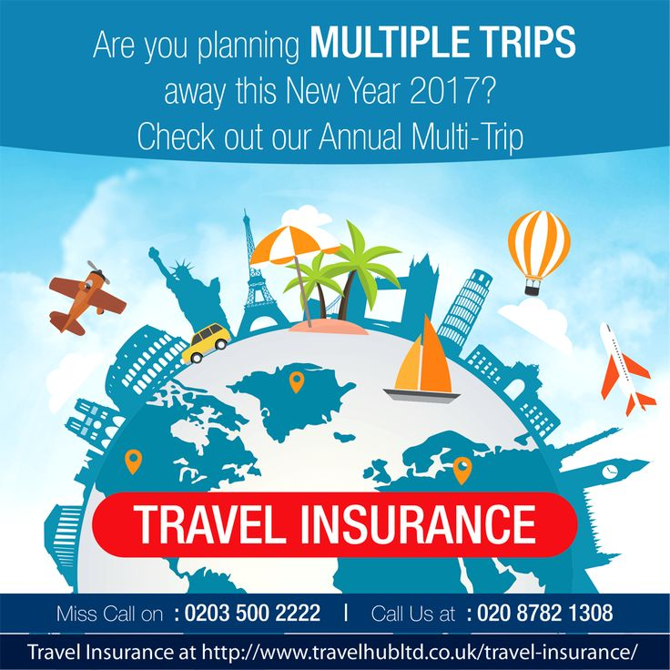 Are you planning multiple trips away this New Year 2017?  Check out our Annual Multi-Trip Travel Insurance at http://www.travelhubltd.co.uk/travel-insurance/   Call for More Details: 020 8782 1308 Miss Call on 02035002222