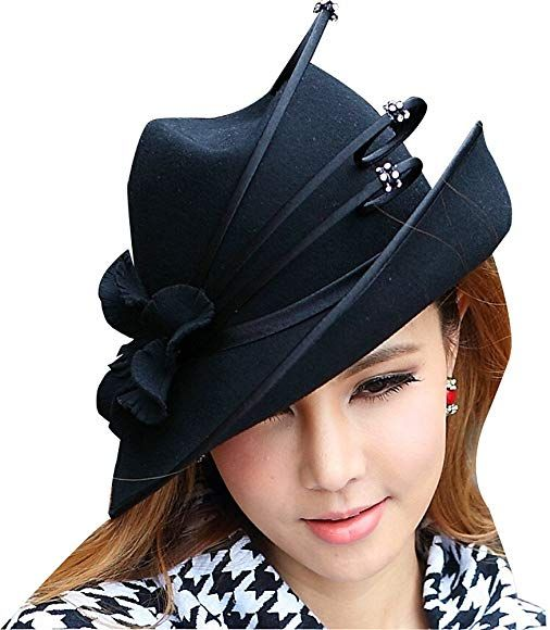 June's Young Fashion Wool Hats for Women Felt Hat Fedoras New Arrival – Black -:… – Cappelli delle donne