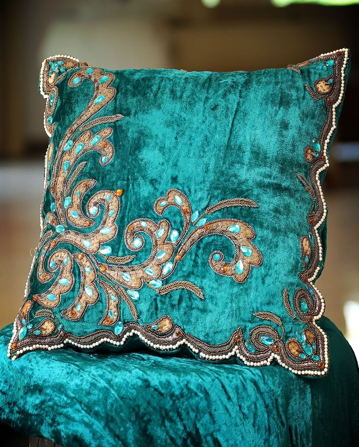 Turquoise blue Velvet decorative cushion with embroidery Aqua Pinterest Embroidered ...