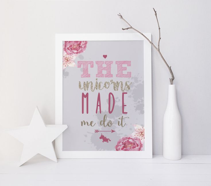 The Unicorns Made Me Do It, Glitter Print, Fairytale Print by InkBoutiqueDesign on Etsy