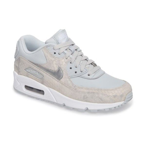 Women's Nike Air Max 90 Embossed Premium Sneaker ($120) ❤ liked on Polyvore featuring shoes, sneakers, snakeskin sneakers, cushioned shoes, snake skin shoes, nike trainers and nike footwear