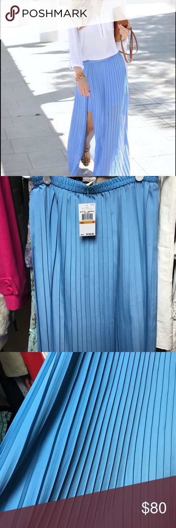 Michael Kors maxi skirt Brand new with tags still attached! This pleated blue maxi is perfect and lightweight for spring/summer! This skirt is unlined and has one slide slit as shown in photo. Pull up style. Can fit up to a medium IMO. Retailed for 130.00! No trades *** 1st photo is a stock photo but appears to have a lining, skirt being sold does not have one. Michael Kors Skirts Maxi