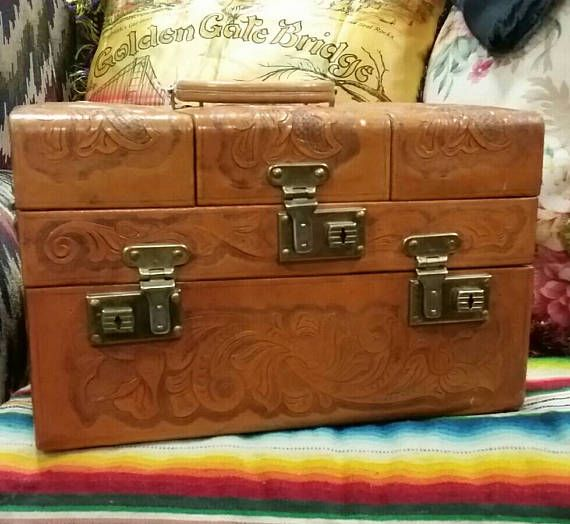 Tooled Leather Train Case, Cowgirl Makeup Case... Etsy shop https://www.etsy.com/listing/527087890/tooled-leather-train-case-vintage-50s