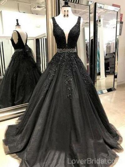 Homecoming Kleider, V-Ausschnitt Schwarz Spitze Perlen A-Linie Lange Abendkleider, Ch …   – Fashion Prom