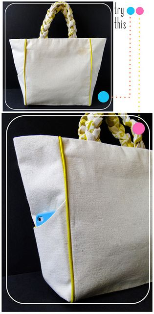 00 Piped + Pocketed Tote by fabricpaperglue, via Flickr