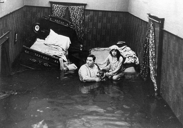 """Fatty Roscoe Arbuckle and Mabel Normand in the film, """"Fatty & Mabel Adrift"""" (1916) by Orange County Archives, via Flickr"""