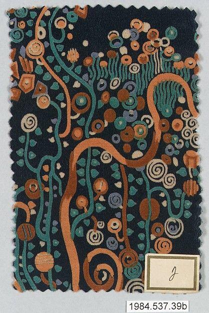 TEXTILE SAMPLE, Gustav Klimt (Austrian, Baumgarten 1862–1918 Vienna) Manufacturer:Wiener Werkstätte Date:ca. 1920 Medium:Silk