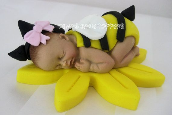 Bumble BEE Yellow Baby Shower First Birthday FONDANT BABY Cake Topper