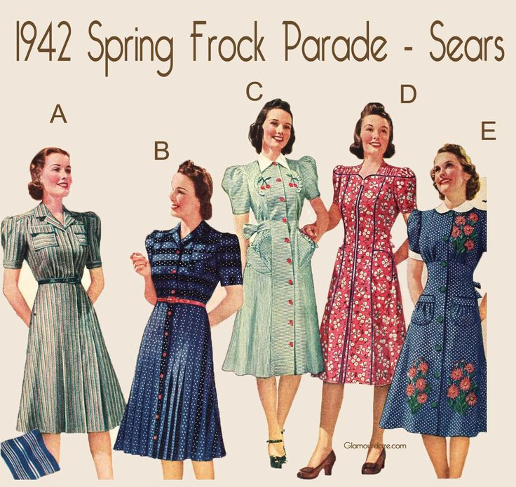 After the cold bitter months of winter, women across America eagerly scanned the juicy spring catalogues for some nice frock inspiration. Here's a selection of spring frocks from the Sears Catalog of 1942.