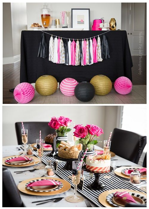 Black Pink and Gold Kate Spade inspired party. Find all the details and shop the items used: www.partystock.ca