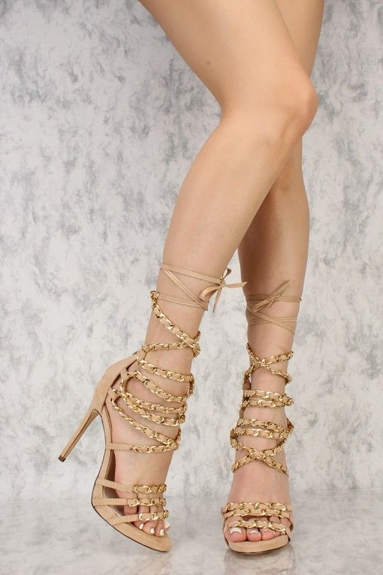 Nude Strappy Chained Open Toe Single Sole High Heels Faux Suede