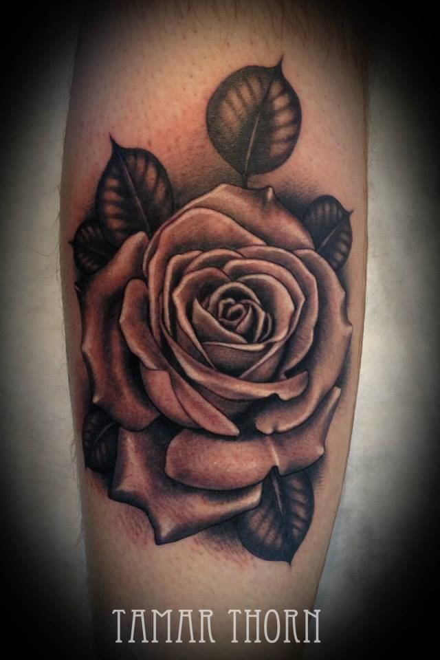 25 best black and grey realistic rose tattoo images on for Black and gray rose tattoos