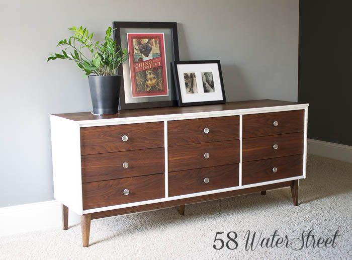 58 Water Street | Mid Century Dresser in White and Walnut