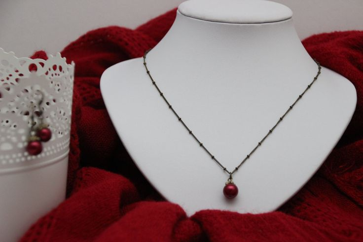Simple delight; Cherry pearl drop necklace- sophisticated and stylish by 4Dignity on Etsy