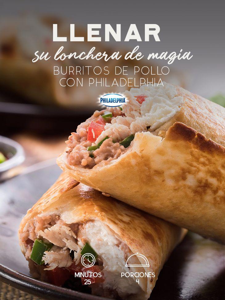 Dibuja una sonrisa en su cara cuando abra su lonchera con estos ricos Burritos de pollo con Philadelphia.  #recetas #receta #quesophiladelphia #philadelphia #crema #quesocrema  #queso #comida #cena #almuerzo #lunch #lonchera #burrito #pollo