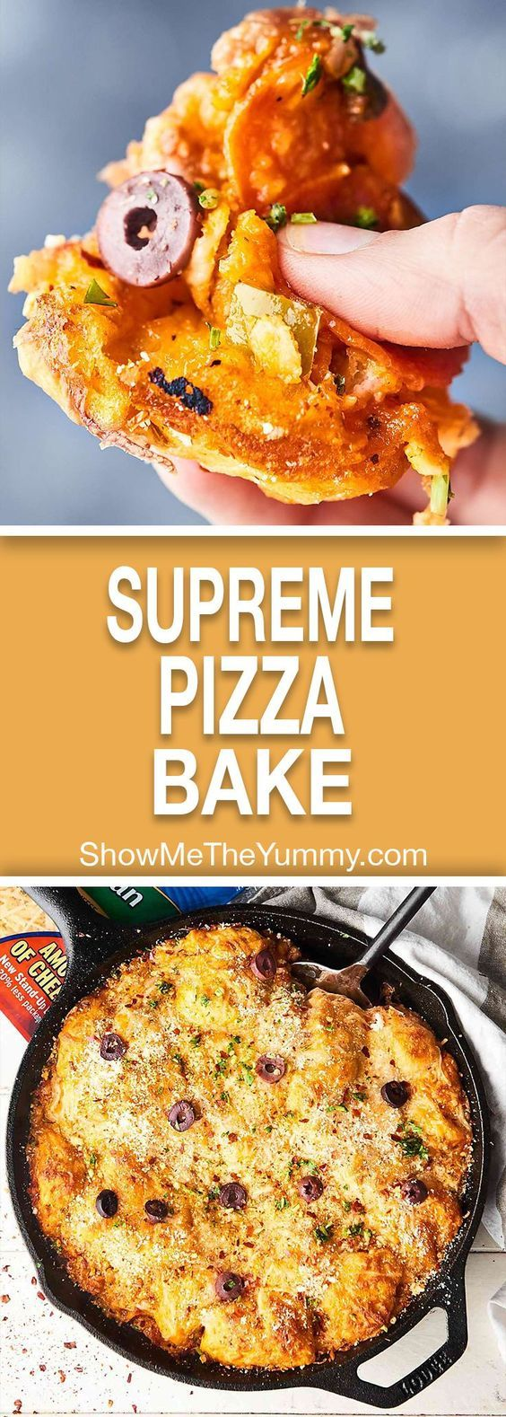 This Supreme Pizza Bake is easy, cheesy perfection! Refrigerated biscuit dough is mixed with pizza sauce, THREE kinds of cheese, sausage, pepperoni, veggies, and gets baked until golden! showmetheyummy.com #pizza #casserole