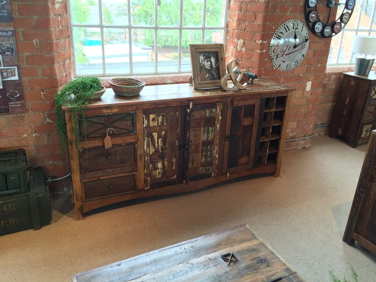 Riya Upcycled 3 Drawer 3 Door Sideboard and Wine Rack. This perfect sideboard has it all - looks, storage and personality!