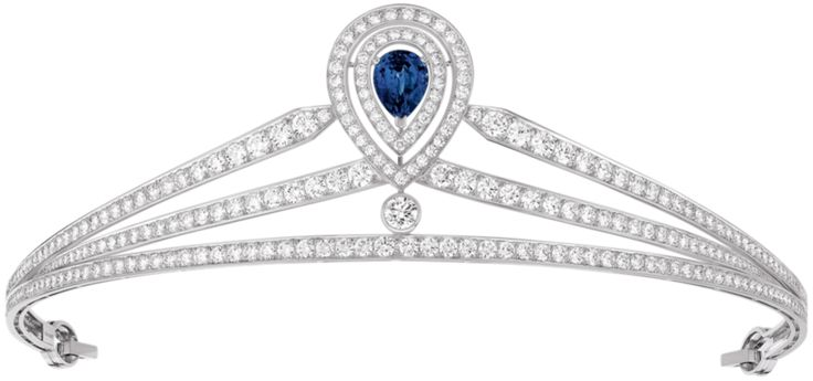 Joséphine tiara in platinum, paved with brilliant-cut diamonds, set with a pear-cut sapphire, Chaumet