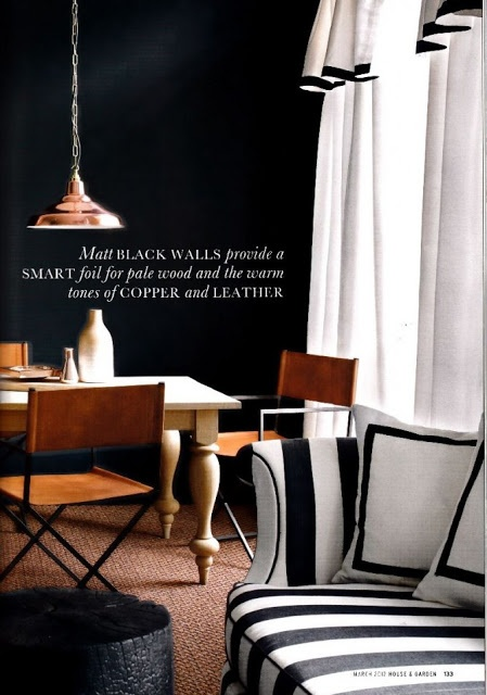 black walls & rich brown leather via black walls & co | Daily Dream Decor