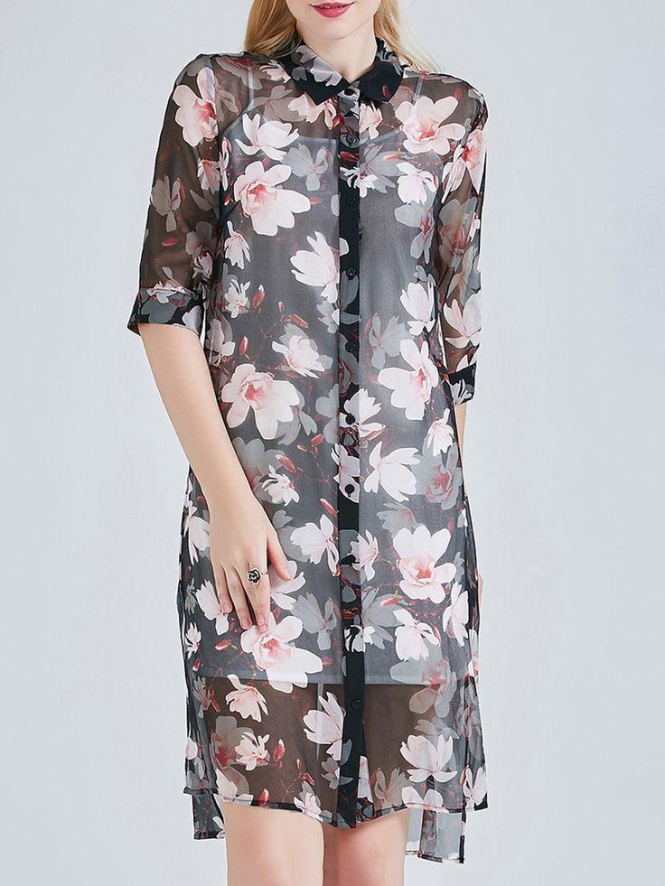 #AdoreWe #StyleWe BEIYIMENG Silk Shirt Collar Vintage Half Sleeve Slit Floral Print Tunic - AdoreWe.com