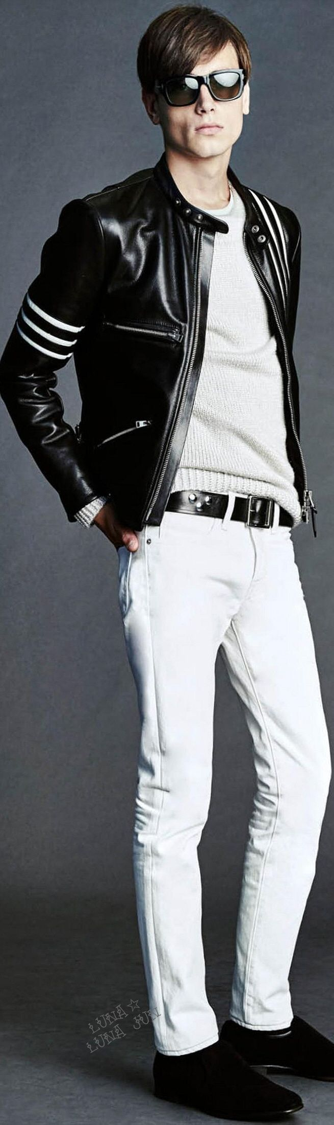 Black leather jacket and white ultra fit jeans. Tom Ford Spring 2016 Menswear