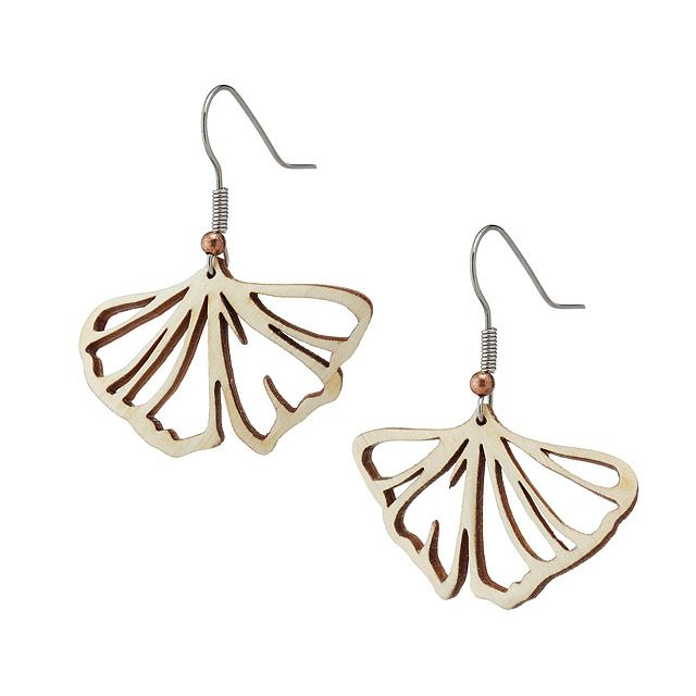Gingko Leaf Earring - Aspen Wood | laser cut jewelry | UncommonGoods
