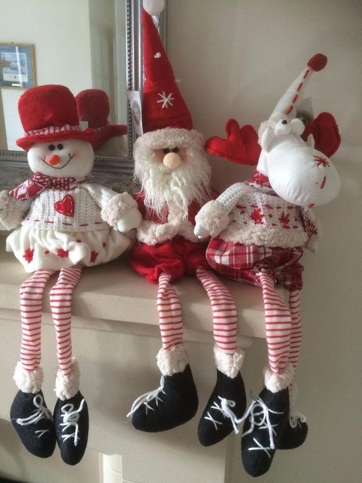 Fun Red and White Fabric Moose, Snowman or Father Christmas Decoration Long Legs