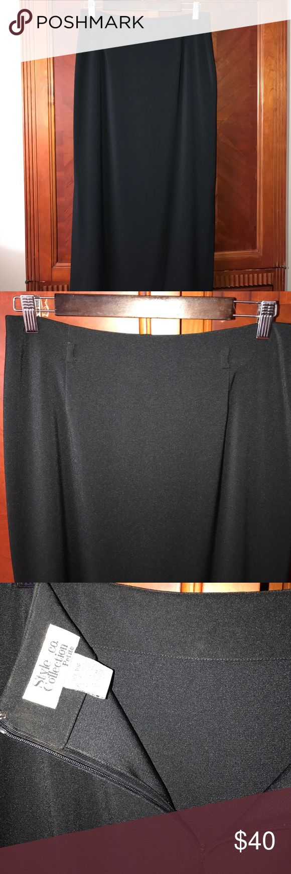 """Black long petite skirt Waist 17"""" in length 33""""in no trade no lowball style&Co collection petite Skirts Maxi"""