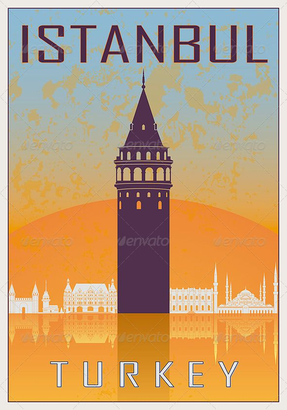 Istanbul Vintage Poster #GraphicRiver Istanbul vintage poster in orange and blue textured background with skyiline in white. AI 10 Illustrator vector …