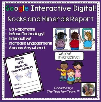 Google Drive Rocks and Minerals - Going Paperless? This digital interactive notebook containing Google slides with a complete Rocks and Minerals Research Report and is perfect for Chromebooks, HP Streams, and other devices in a 1:1 classroom. Printable version included!