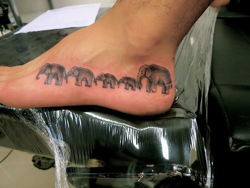 elephant family tattoos | Today I got a tattoo of five elephants walking together to represent ...