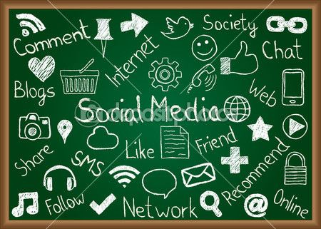 다운로드 - 소셜 미디어 아이콘 및 칠판에 용어 — 스톡 일러스트 #15831801