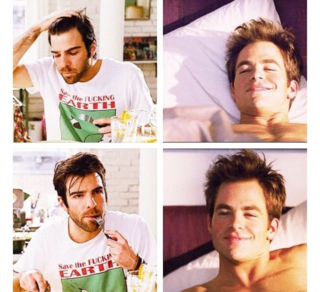 Chris Pine and Zachary Quinto :) It is REALLY sweet.