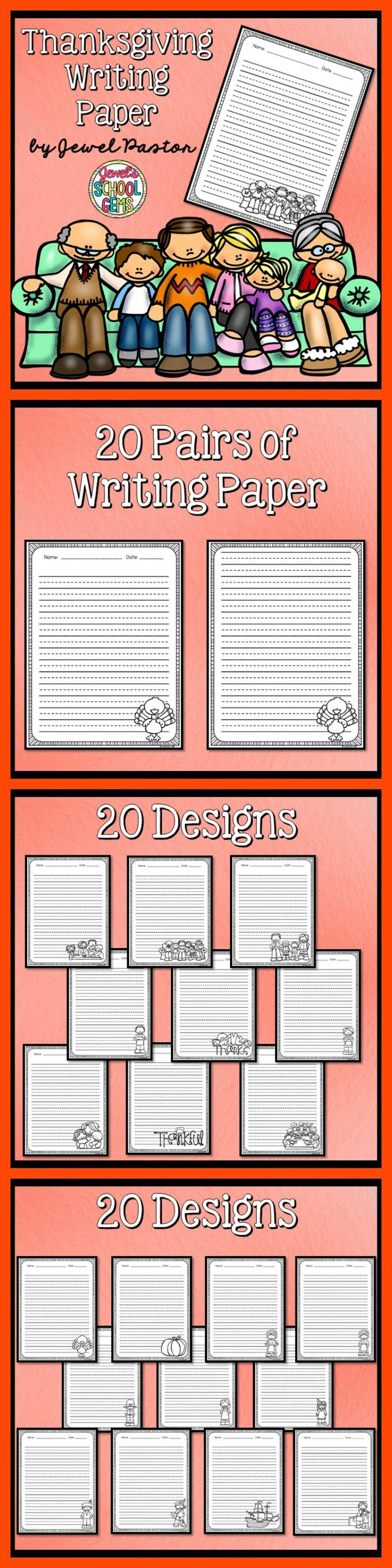 THANKSGIVING WRITING PAPER   This resource contains a PDF file composed of 20 pairs of writing paper/sheets with a thanksgiving theme for a total of 40 sheets.  Please see the Preview to get an idea of what the print-and-go sheets look like. All the sheets are in black and white.