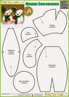 Molde ursinho natalino