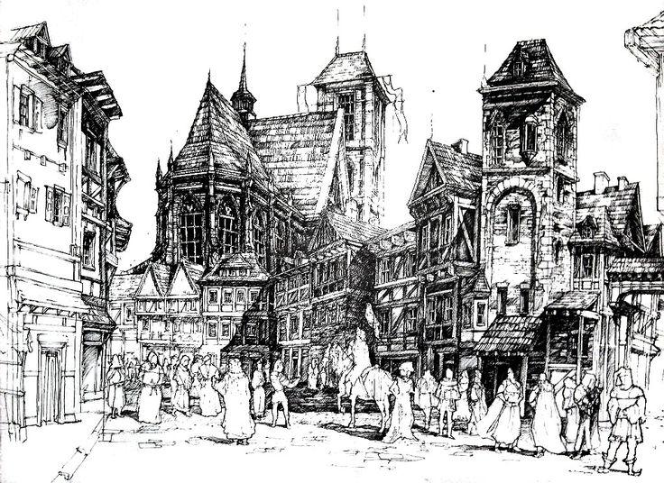 DOMIN Poznań - Medieval town with gothic cathedral. Ink Pen. 50x70 / Średniowieczne miasto z gotycką katedrą. Oparte na meteriałach z pracowni DOMIN. Format 50x70. Cienkopis.