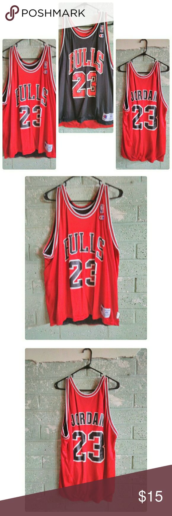 Men's NBA Chicago Bulls Michael Jordan jersey Used in good condition reverseable Chicago Bulls Michael Jordan jersey Champion Shirts